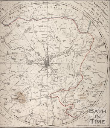 A plan of the city of Bath (with buildings and surrounding areas), 1772