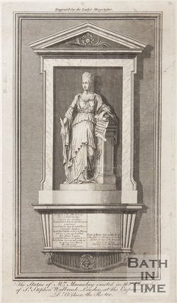 The statue of Mrs Macaulay in the Church of St Stephens Wallbrook, London