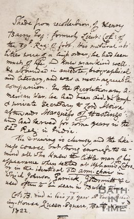 Handwritten note concerning Henry Barry, 1822