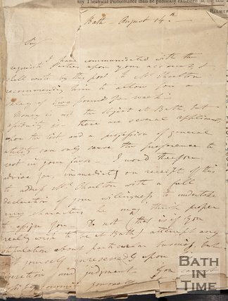 A handwritten letter linked to the articles of Agreement Between John Palmer and John Henderson (comedian), 1774