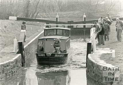 The Dragonfly waterbus on the Kennet & Avon canal, Bath, c.1980s