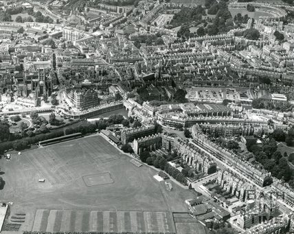 1964 Aerial view of Bath looking over the Recreation Ground towards St Michaels Church