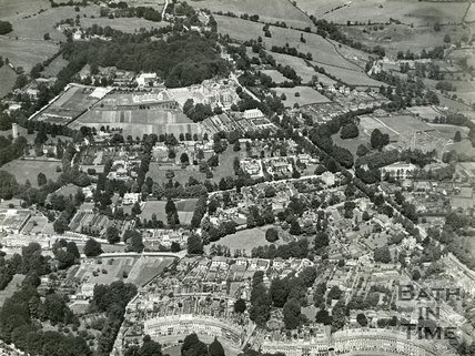 1935 Aerial view of Somerset Place, Lansdown Crescent and Lansdown, Bath, July