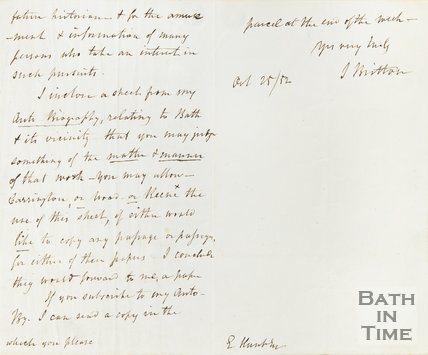 Letter from J Britton to Hunt October 25th 1852 verso