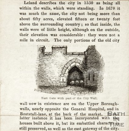 Description of Bath City Walls with Small Engraving of the East Gate 1845