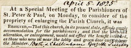 At a Special Meeting of the Parishioners of St. Peter and Paul, on Monday, to consider of the propriety of enlarging the Parish Church April 5th 1825