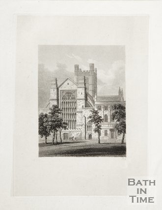 Engraving Bath Abbey from Orange Grove, 1814