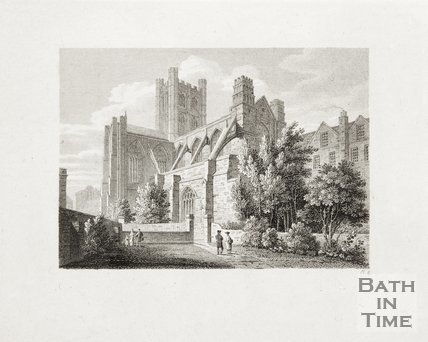 Engraving Bath Abbey, South East View, 1814