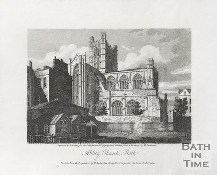 Engraving Abbey Church Bath October 1st 1810