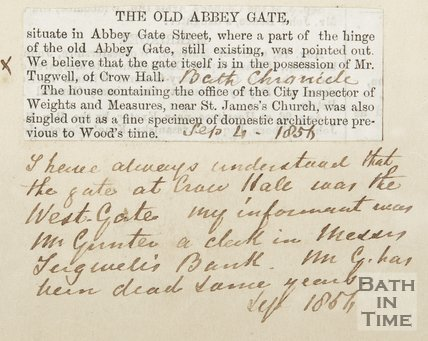 The Old Abbey Gate September 4th 1854 and note by Hunt