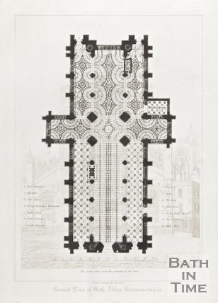 Engraving Ground Plan Bath Abbey Somersetshire