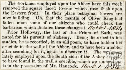 Workman's progress on Abbey Alteration November 1st 1834