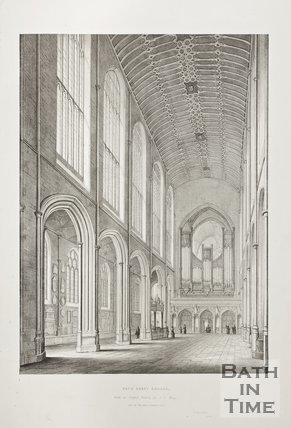 Engraving Bath Abbey Church View of the Nave looking East