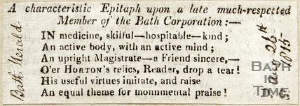 A characteristic epitaph upon a late most respected member of the Bath Corporation August 26th 1815