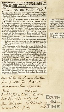 Advowson of the rectory of Bath with the Vicarage of Lyncombe and Widcombe annexed. To be sold. April 16th 1836
