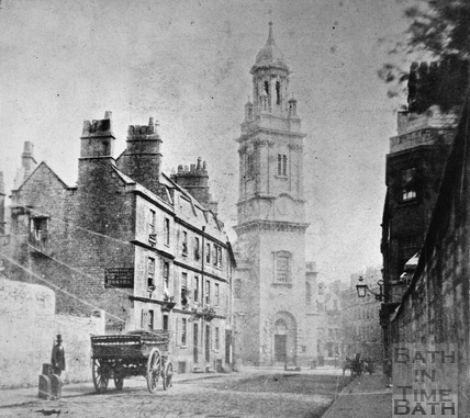 Lower Borough Walls and St. James's Church, Bath 1849