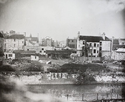 Rear of Railway Place and riverside buildings from Dolemeads, Bath c.1900