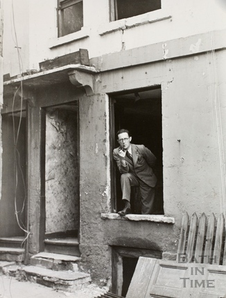 Inspecting the damage at 9, Cross Lane, Bath 1942