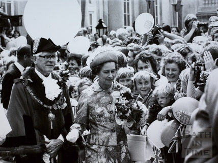 Queen Elizabeth II and the Mayor of Bath, Councillor Ray Rosewarn, Bath 1977