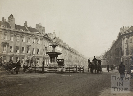 Pulteney Hotel and fountain, Great Pulteney Street, Bath c.1910
