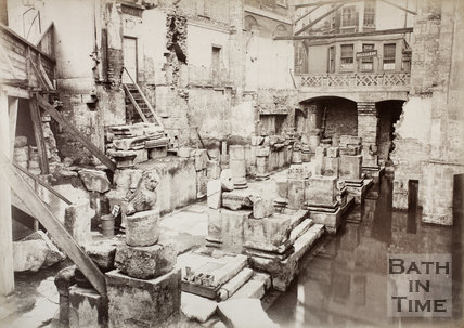 The newly discovered Great Roman Bath, Bath c.1885