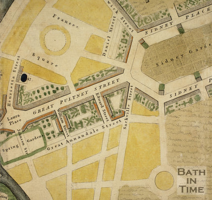 Map of the planned Pulteney Estate, Bath 1793 - detail