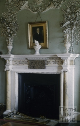 Fireplace and plasterwork, Prior Park, Bath 1956