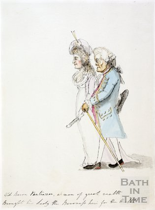 Watercolour sketch for Anstey's Bath Guide No. 11 c.1815