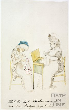 Watercolour sketch for Anstey's Bath Guide No. 18 c.1815