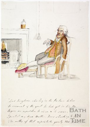 Watercolour sketch for Anstey's Bath Guide No. 7 c.1815