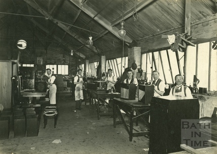 Inside cabinetmakers W & T Lock, Lower Bristol Road, Bath 1928