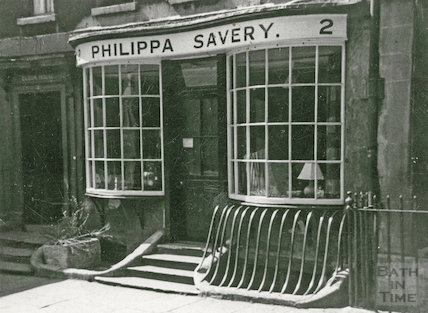 The shop front of Philippa Savery antiques, 2, Abbey Street, Bath c.1950