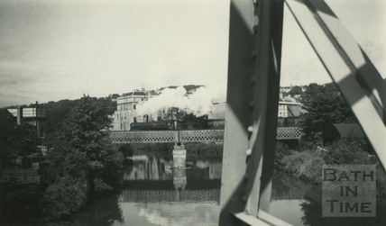 Crossing the bridge on the approach to Green Park station, Bath c.1964