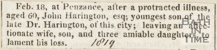 Announcing death of John Harrington Esq. in Penzance (Dr. Harrington's youngest son) February 18th 1819