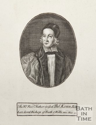 Engraving of The Right Rev. Father in God Tho. Kenn D.D. Late Lord Bishop of Bath and Wells. anno etat 73