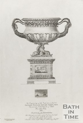 Engraving of the Vase presented to captain William Edward Parry R.N by several inhabitants of Bath, his native city 1821.
