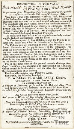 Description of vase to be given to Captain Parry, subscription March 24th 1821