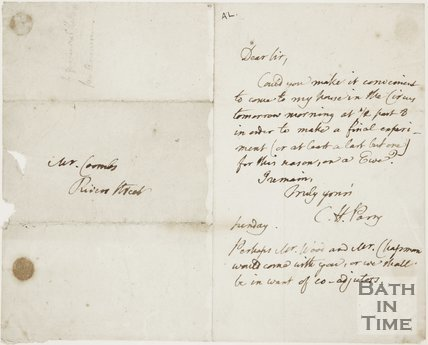 Letter to Mr Coombes of Rivers Street from Caleb Hillier Parry