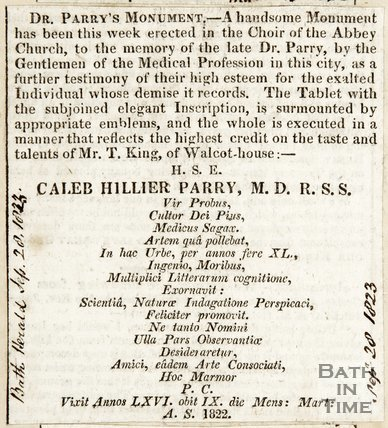 Announcing Dr Parry's monument in Abbey Choir September 28th 1823