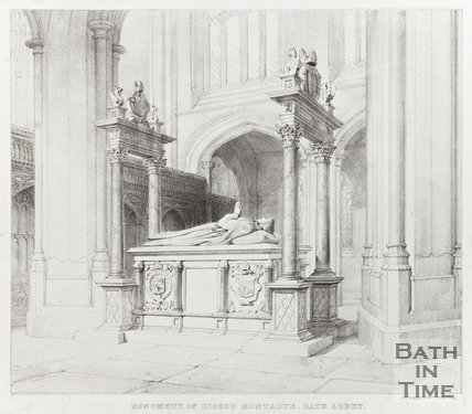 Monument of Bishop Montague, Bath Abbey 1835?
