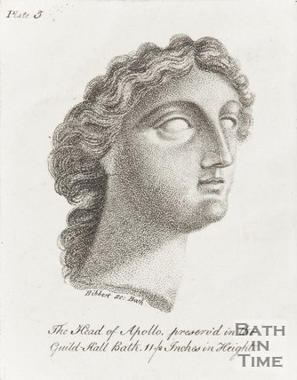 Engraving head of Apollo preserved in the Guildhall, Bath 11/2 inches in height