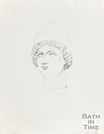 Pencil Sketch of Bronze Head from Bath