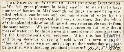 The Supply of Water in Marlborough Buildings, October 5th 1850