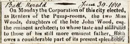 Election of Renters of Pump Rooms, two Miss Woods, June 30th 1810