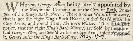 Appointment of George Allen by Mayor of City of Bath to pump waters in Kings Baths May (1807)