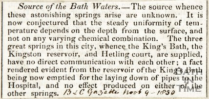 Source of the Bath Waters, November 9th 1830