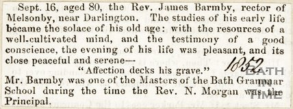 Announcing the death of Rev. James Barmby, Master at the Grammar School, Sept 16 1852