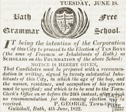Announcing the election of 10 boys to become scholars at Bath Free Grammar School June 18th 1822