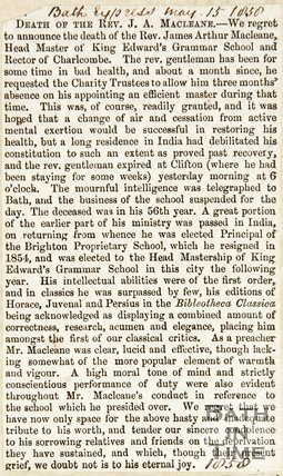 Obituary of Rev. J.A. Maclean May 15th 1858