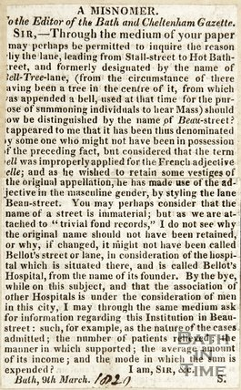 Letter to the Editor about Beau Street and Bellotts Hospital March 9th 1820
